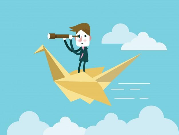 businessman-holding-telescope-and-riding-on-origami-bird-flat-design-element-vector-illustration_1456-38